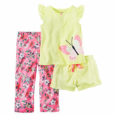 Carters Toddler Girl Pajamas Yellow Pink Floral Butterfly 3-Piece PJs Set 3T 4T
