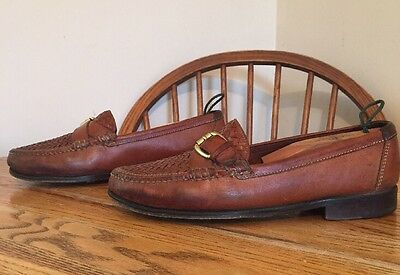VINTAGE COLE HAAN WOVEN CROSS STRAP BUCKLE LOAFERS MENS HandSewn SHOES Size 9 M