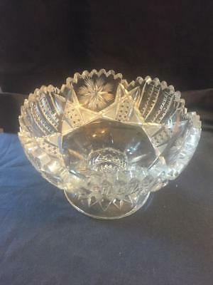 Gorgeous Cut Glass American Brilliant Period ABP Footed Bowl Compote