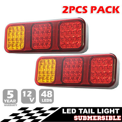 Pair LED Tail Stop Indicator Combination Lamp Submersible Light 12V CRL230