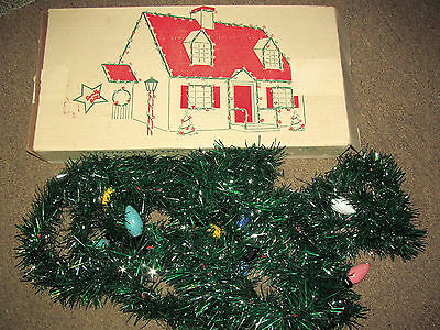 VTG 50s CHRISTMAS SPARKLE BRITE LIGHTED VINYL GARLAND 18' OUTDOOR C9 LIGHTS IOB