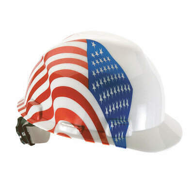 MSA Hard Hat,C, E,Red/White/Blue,4pt Ratchet, 10050611, Red/White/Blue
