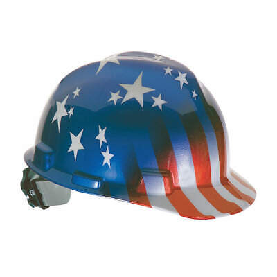 MSA Hard Hat,C, E,Red/White/Blue,4pt Ratchet, 10052945, Red/White/Blue