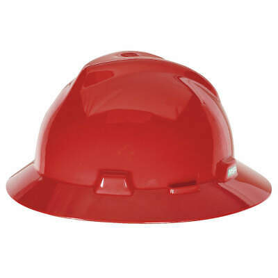 MSA Hard Hat,C, E,Red,4 pt. Ratchet, 475371, Red