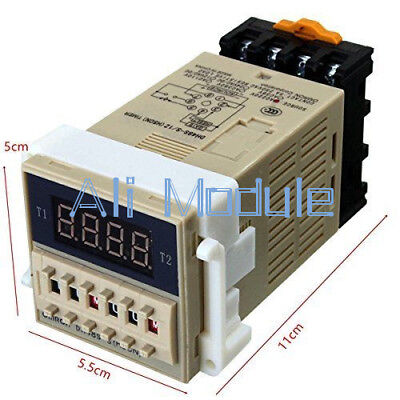 AC 220V DH48S-S Digital Precision Programmable Time Delay Relay Socket Base