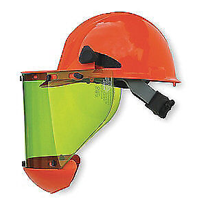 SALISBURY Arc Flash Faceshield with Hard Hat, AS1000HAT, Green/Orange
