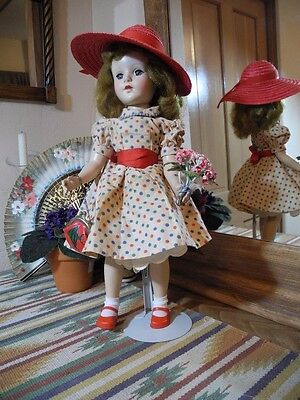 """VTG  18"""" Sweet Sue Walker Doll, Dot Dress French Red Straw Hat Fish Purse Shoes"""
