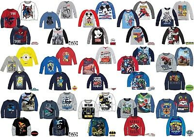Boys Kids Children Characters Long sleeve T-Shirt Top age 3-12  Xmas gift