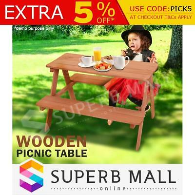 Kids Outdoor Playing Wooden Picnic Table BBQ Size Fir Wood Chairs Set Children