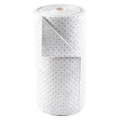 BRADY SPC AB Polypropylene Absorbent Roll,Oil-Based Liquids,White, BRO150, White