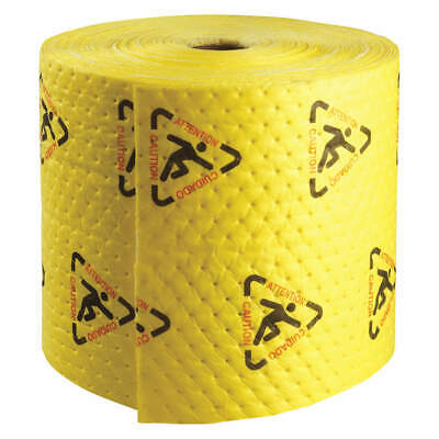 BRADY SPC AB Polypropylene Absorbent Roll,Chem/Hazmat,YLW,150ft L, CH15P, Yellow