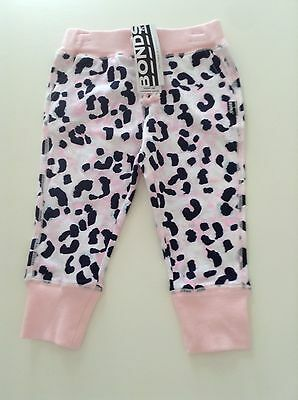 NWT Bonds Baby Girls Pink Leopard Print Tracksuit Pants Size 1/3 RRP$22.95