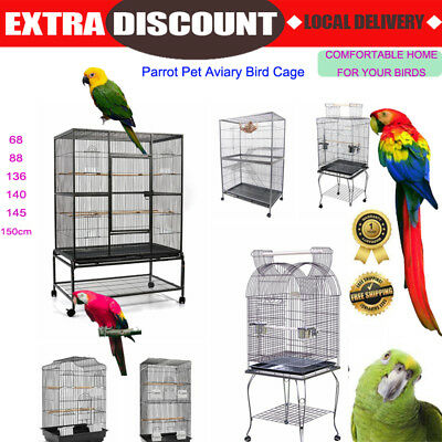 Bird Cage Parrot Pet Canary Aviary Stand alone Budgie Perch Castor Wheels Large