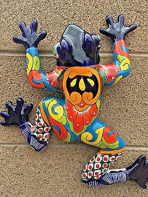 """Talavera Mexican Pottery Large Bull Frog Toad 15"""" Cobalt Blue 15.5"""" Wall Art"""