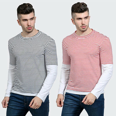 Mens Slim Fit Casual Shirts Long Sleeve Crew Neck Striped Tee Muscle T-Shirt Top