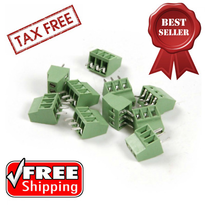 Terminal Block Connector Pitch PCB Mount Screw Nickel Plated Brass 2.54MM 30 Pcs