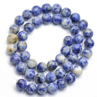 Loose Blue Spot Jasper Gemstone Round Spacer Beads Charms Jewelry Making 8mm