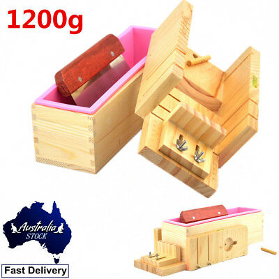 1200g Loaf Soap Mould Silicone Wooden Mold DIY Soap Making Tools W/Cutting Blade