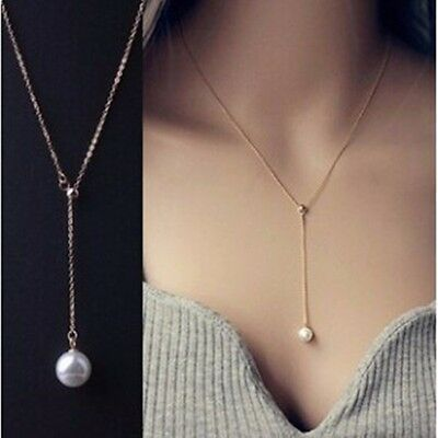 NEW Simple Pearl Pendant Charm Gold Silver Necklace Chain Women Fashion Jewelry