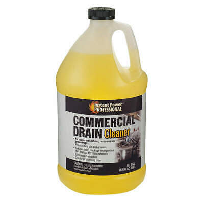 INSTANT POWER PROFESS Commercial Drain Cleaner,1 gal.,Bottle, 8881, Clear Yellow