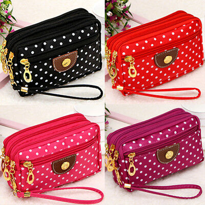 Women Ladies Cloth Zipper Wallet Clutch Card Holder Coin Purse Small Handbag