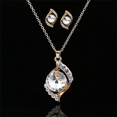 Jewelry Sets Chain Crystal Rhinestone Pendant Chain Earrings Ear stud Necklace