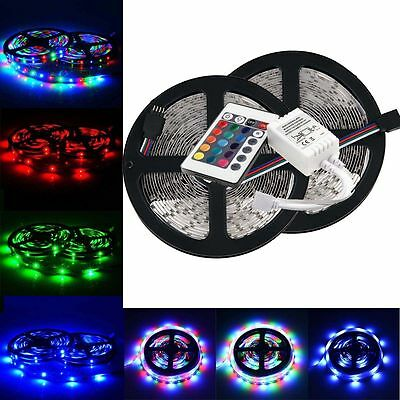 10M 2x5M 3528 SMD RGB 600LEDs LED Strip Lights Lamp + 24Key IR Remote Controller