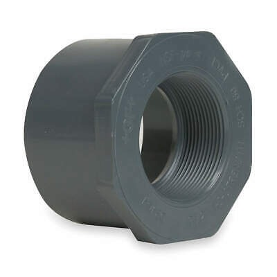 GF PIPING SYSTEMS Reducer Bush,1-1/2x1-1/4In,SPGxFPT,PVC, 838-212, Gray