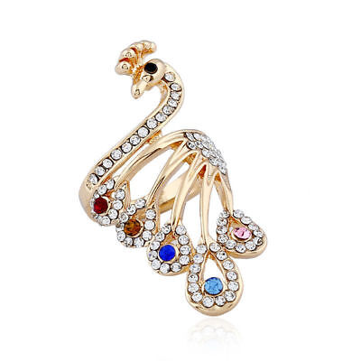 Fashion luxury 18K Gold Plated Jewelry Womens Lady Peacock Cuff Ring
