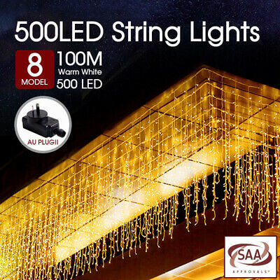 500LED 100M Fairy String Lights Warm White Christmas Tree Xmas Party Wedding AU