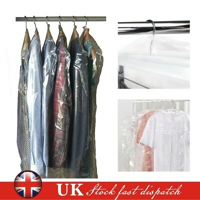 20 POLYTHENE GARMENT COVERS - Clear Plastic Dry Cleaner Clothes Bags - 40""