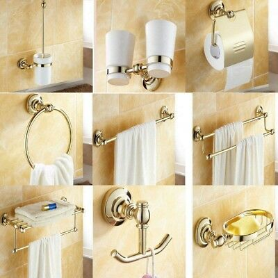 Gold Color Brass Bathroom Accessories Set Bath Hardware Towel Bar yset021