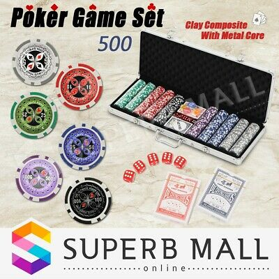 Aluminium Carry Case Poker Card Game Play Set Casino Chip Dice Gamble 500 Chips