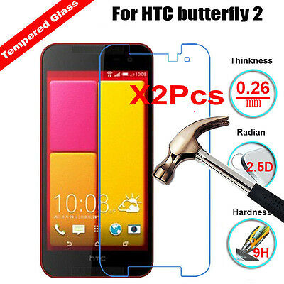 2Pcs Ultra Thin 9H Real Tempered Glass Screen Protector Film For HTC Butterfly 2