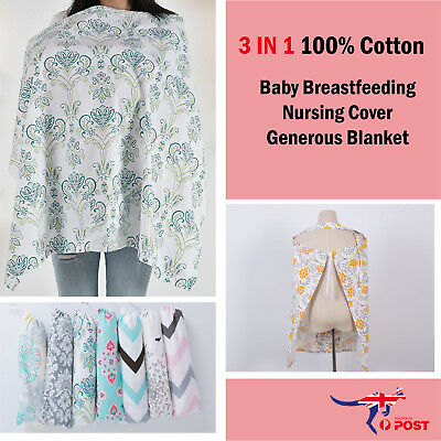 100% Breathable Cotton 3 in 1 Baby Breastfeeding Nursing Cover Generous Blanket
