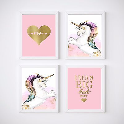 Unicorn Nursery Bedroom Wall Prints, Kids Wall Decor, 3 Set or 4 Set