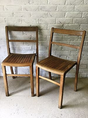 1 Mid Century Vintage 1950s/60s Old Wooden Stacking School Chair (Adult Size)