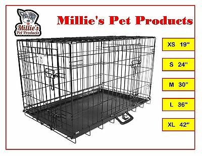 "Wire Folding Pet Crate Dog Cat Cage Suitcase Exercise Playpen 19""/24""/30""/36""/42"