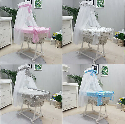 Baby Wicker Moses Basket With Stand + Bedding + Drape + Mattress 10 Designs