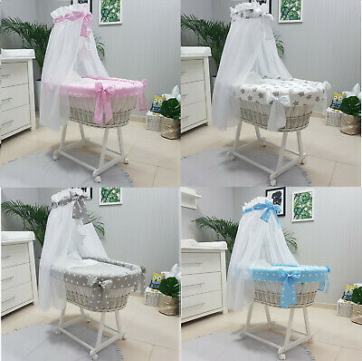 Tolo Baby Wicker Moses Basket + Chassis + Small Wheels + Bedding +Drape 9 Design