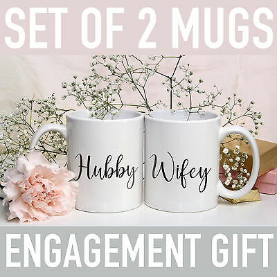 Hubby And Wifey Mug Wedding Present Engagement Gift Mr And Mrs Cup Set Of 2 Mugs