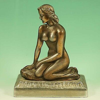 Original Old Art Deco Antique Nude Lady Metal Lamp for Restoration or Display