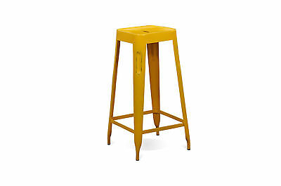 Industrial Distressed Tolix Style Bar Stools Yellow