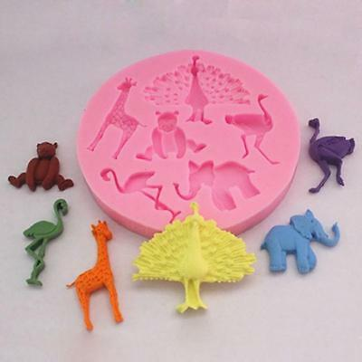 Safari Animals Silicone Mould Giraffe Fondant Cupcake Cake Topper N7