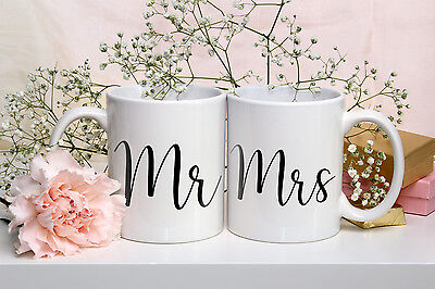 Set Of 2 Mugs Mr And Mrs Coffee Mug Tea Cup Wedding Engagement Gift Bride Groom