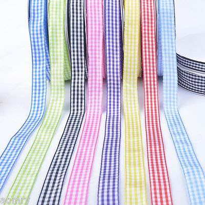 10/50/100 Yards Mixed Colors Gingham Ribbon Christmas 6 10 15 25mm 8 colors