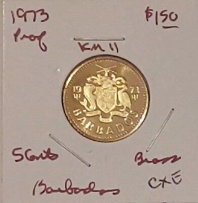 Barbados 1973 5 Cents, Km11 Choice Proof, Brass, Free Usa Shipping