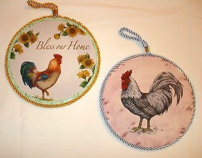 Rooster Painted Ceramic Round Kitchen Decor Trivet - Wall Hanging Home Decor