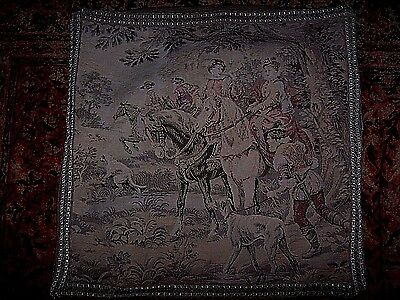 """Vintage Tapestry Textile Hunting Scene Pillow Cover Decorative Trim 22"""" x 22"""""""