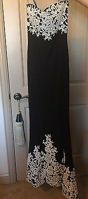 Basix for Neiman Marcus exquisite beaded lace Black Fitted Gown Size 0 Worn Once